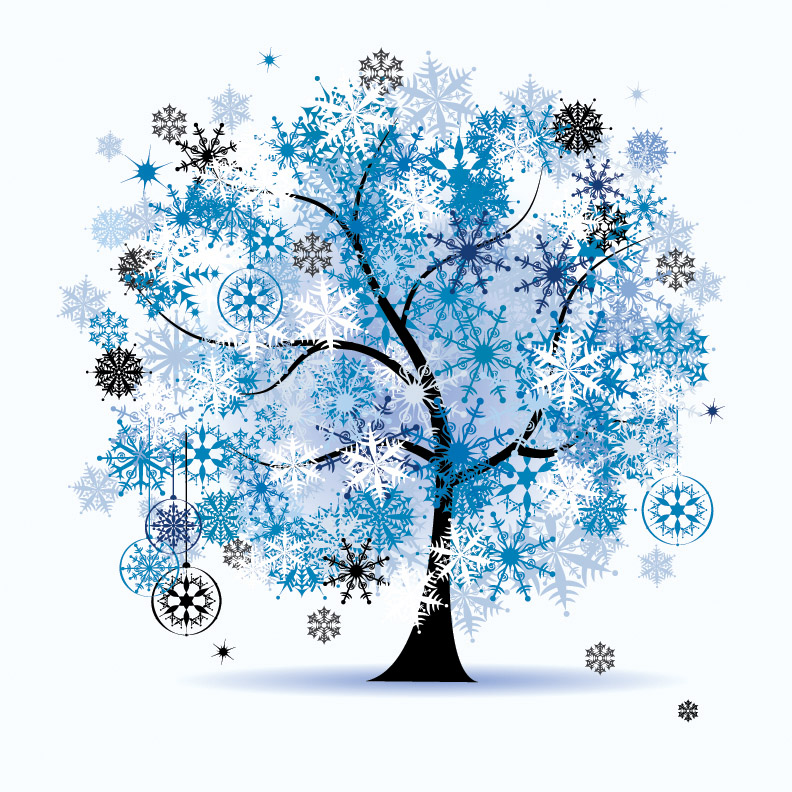 winter tree clipart blue #15