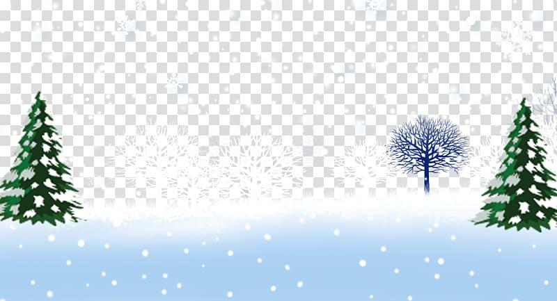 Santa Claus Christmas Cartoon , Winter tree trunks.