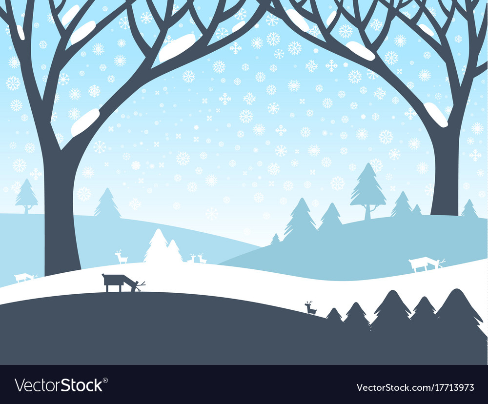 Winter landscape nature scene with trees roe deer.
