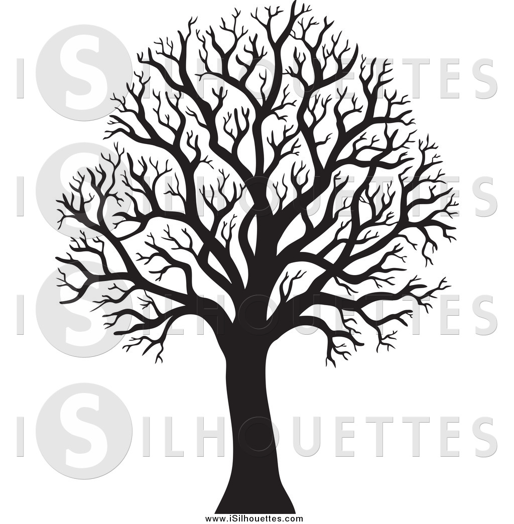 Clipart of a Silhouetted Black Bare Winter Tree by visekart.