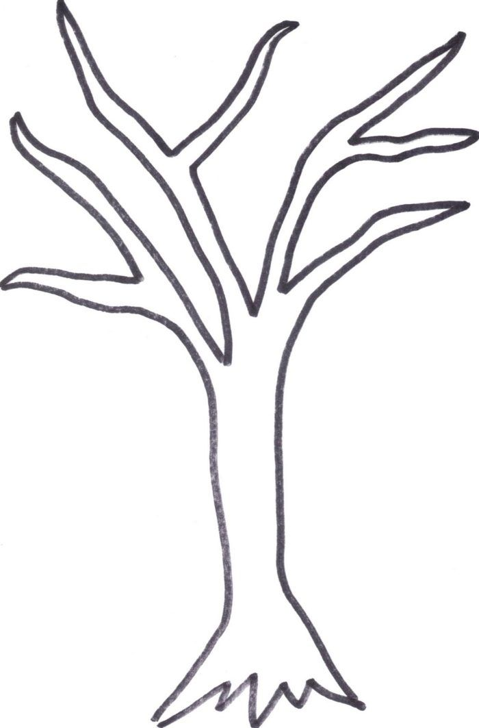 Easy bare tree coloring page bare tree template printable.