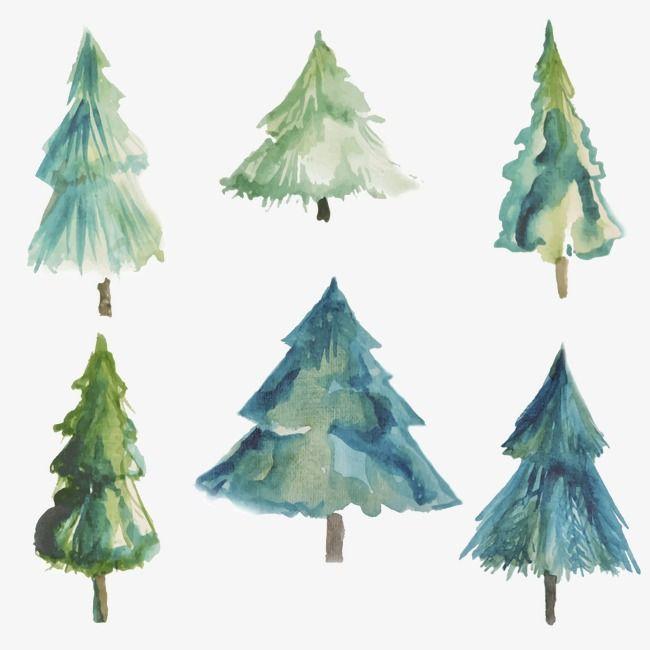Watercolor Christmas Tree, Tree Clipart, Watercolor.