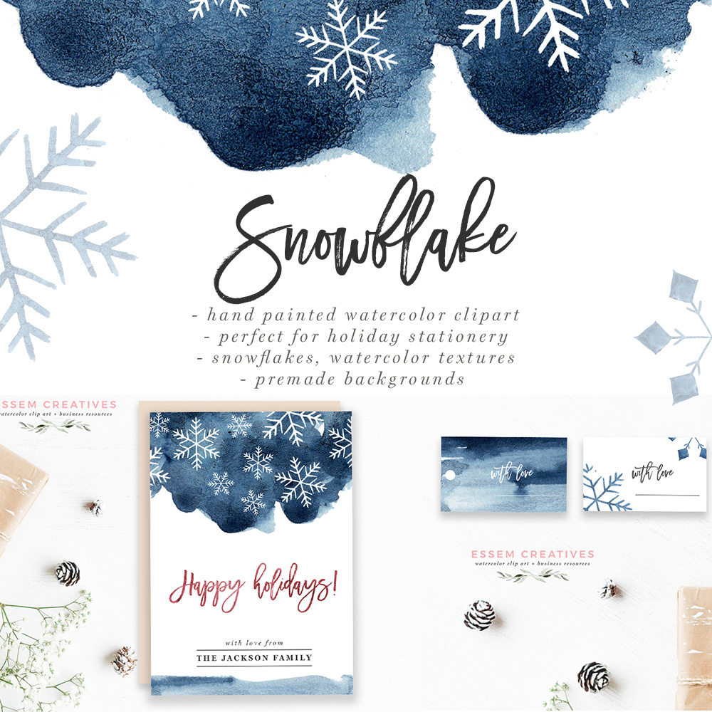 Watercolor Snowflakes Clipart, Winter Graphics, 5x7 Christmas & Holiday  Card Backgrounds.
