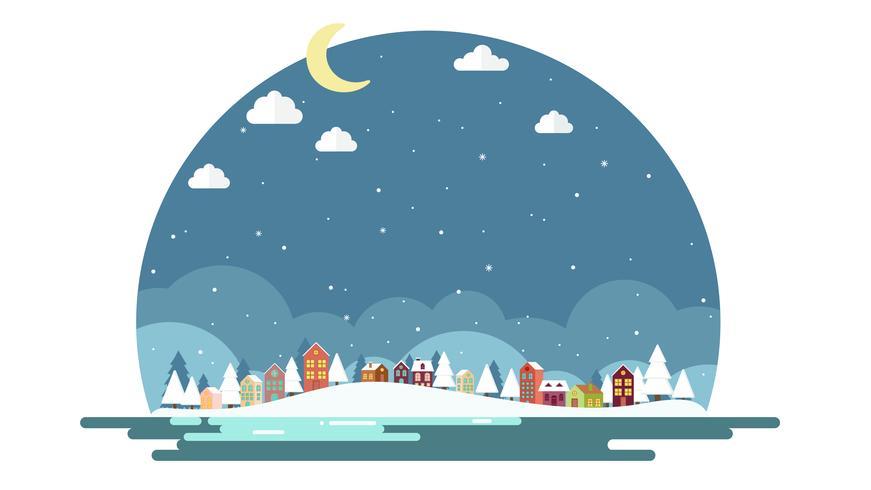 Flat design of winter Landscape background.