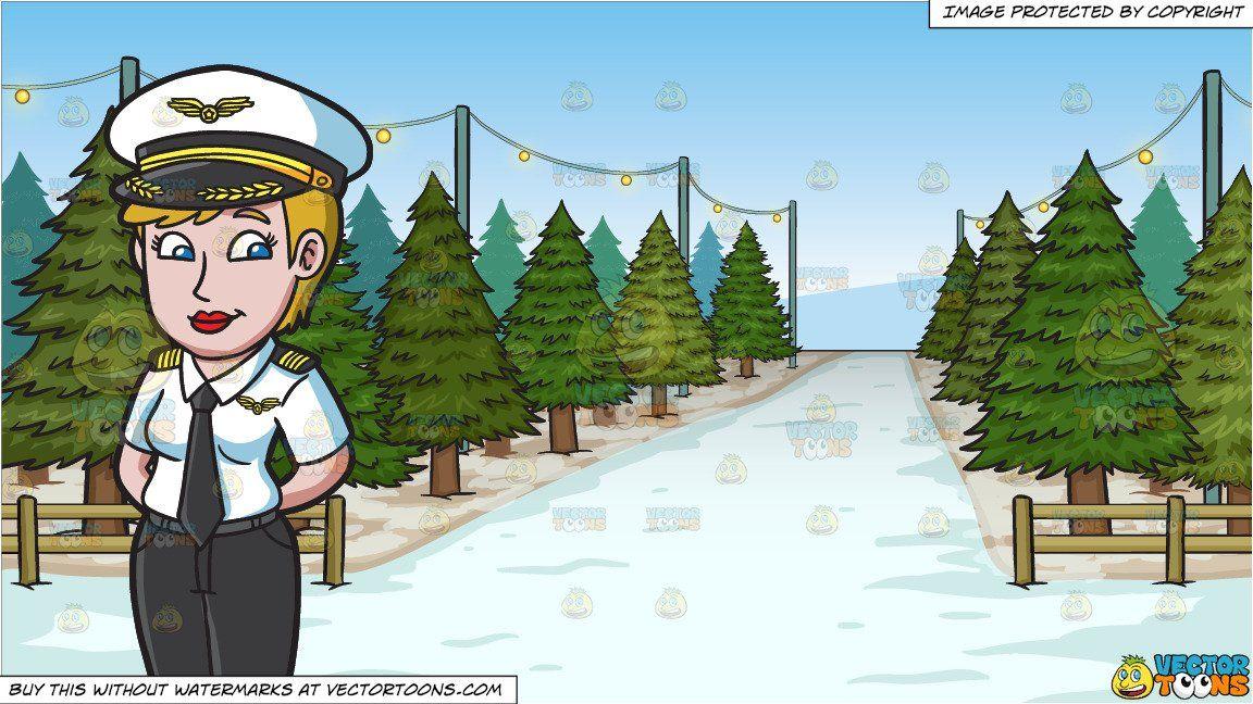 clipart #cartoon A Lady Pilot and Christmas Tree Lot.