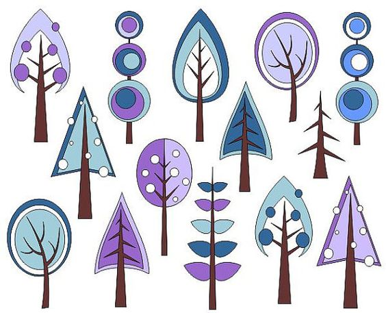 Retro Trees Clip Art, Winter Trees Digital Clip Art, Christmas.