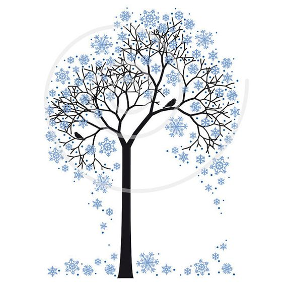 Winter tree with snowflakes and birds, illustration, seasonal.