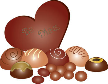 Clip Art Picture of a Chocolate Valentine Heart with Truffles.