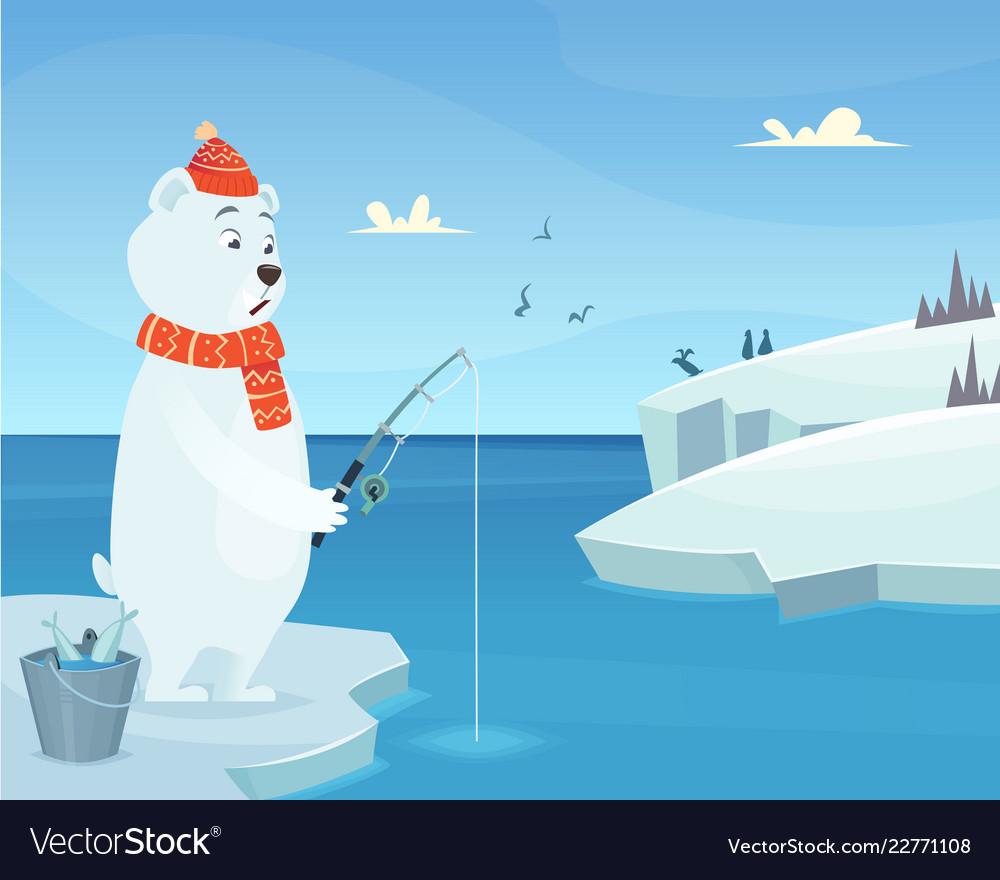 White bear background iceberg ice winter animal.
