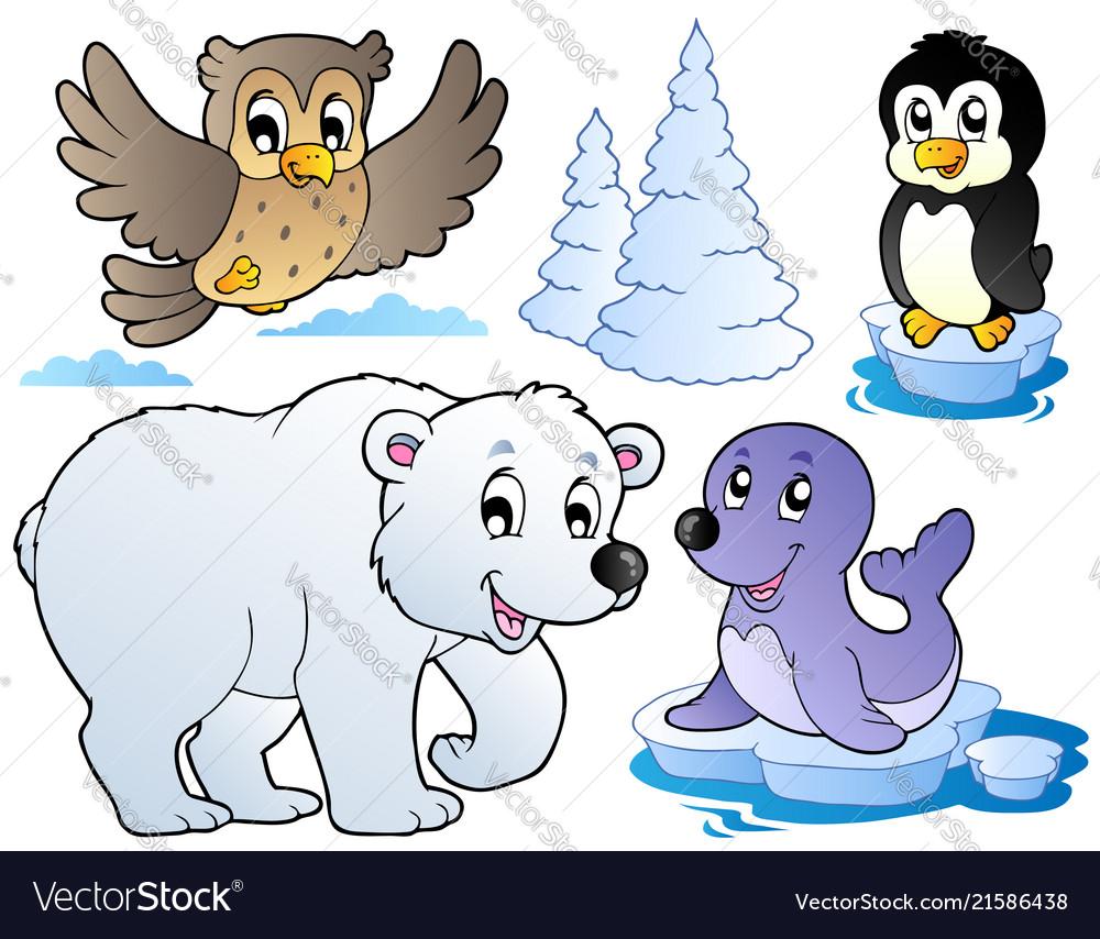 Various happy winter animals.