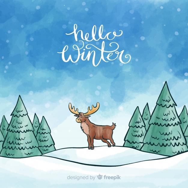 Reindeer winter watercolor background Vector.