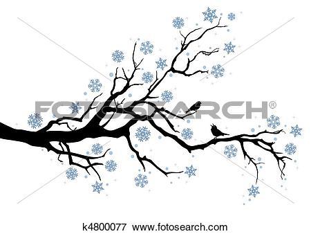 Clip Art of winter tree branch k4800077.