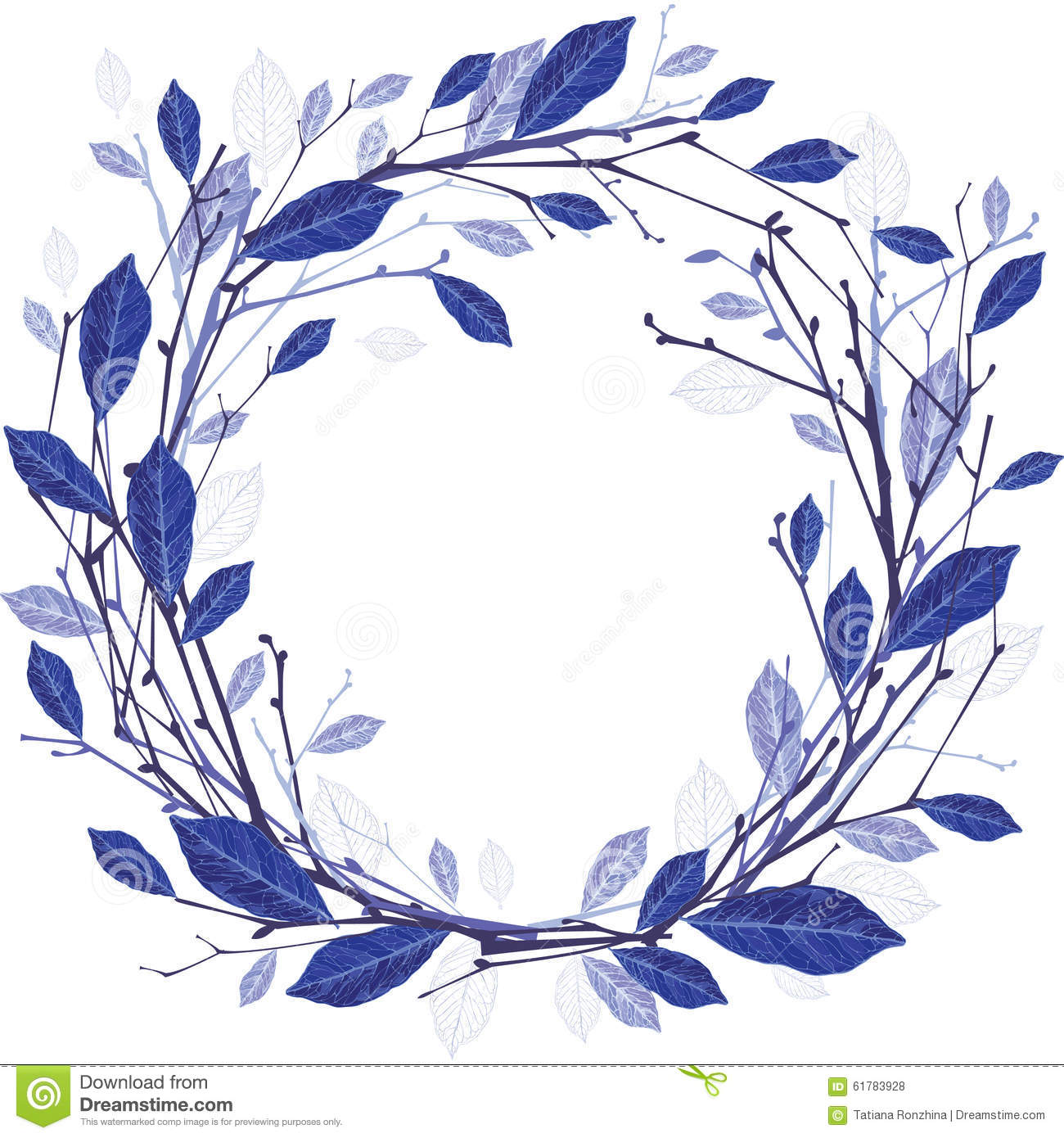 Winter Wreath Of Twigs And Leaves Illustration Stock Vector.