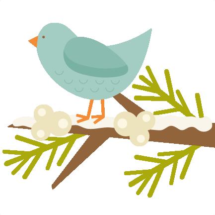 Bird on twig clipart.