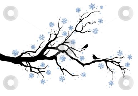 Winter tree clip art black and white.