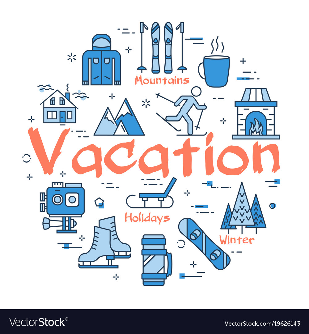 Blue winter vacation concept.
