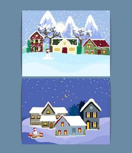 Winter Vacation Landscape Illustrations Set ..