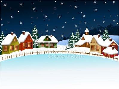 Winter village Clipart Image.