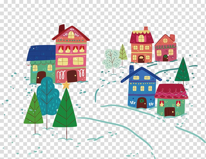 Several houses illustration, Snow Winter, snow village.
