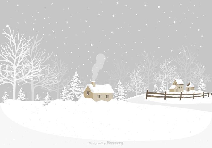 Winter Village Vector Background.