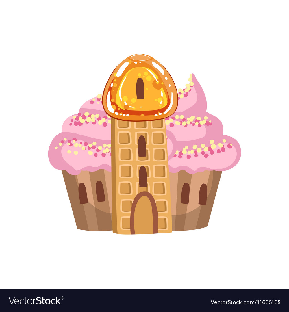 Small Cupcake Castle With Cream Roof And Waffle.