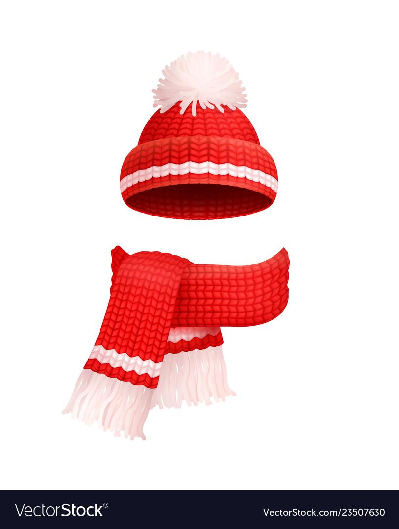Winter warm red hat white pom.