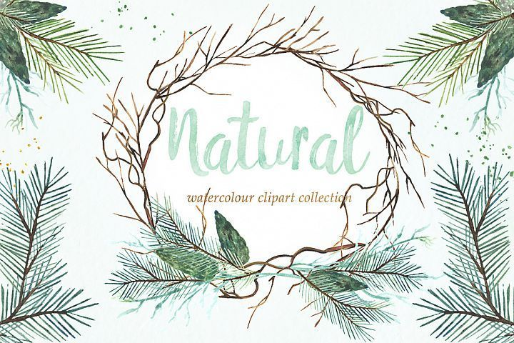 Natural winter. Watercolor clipart in 2019.