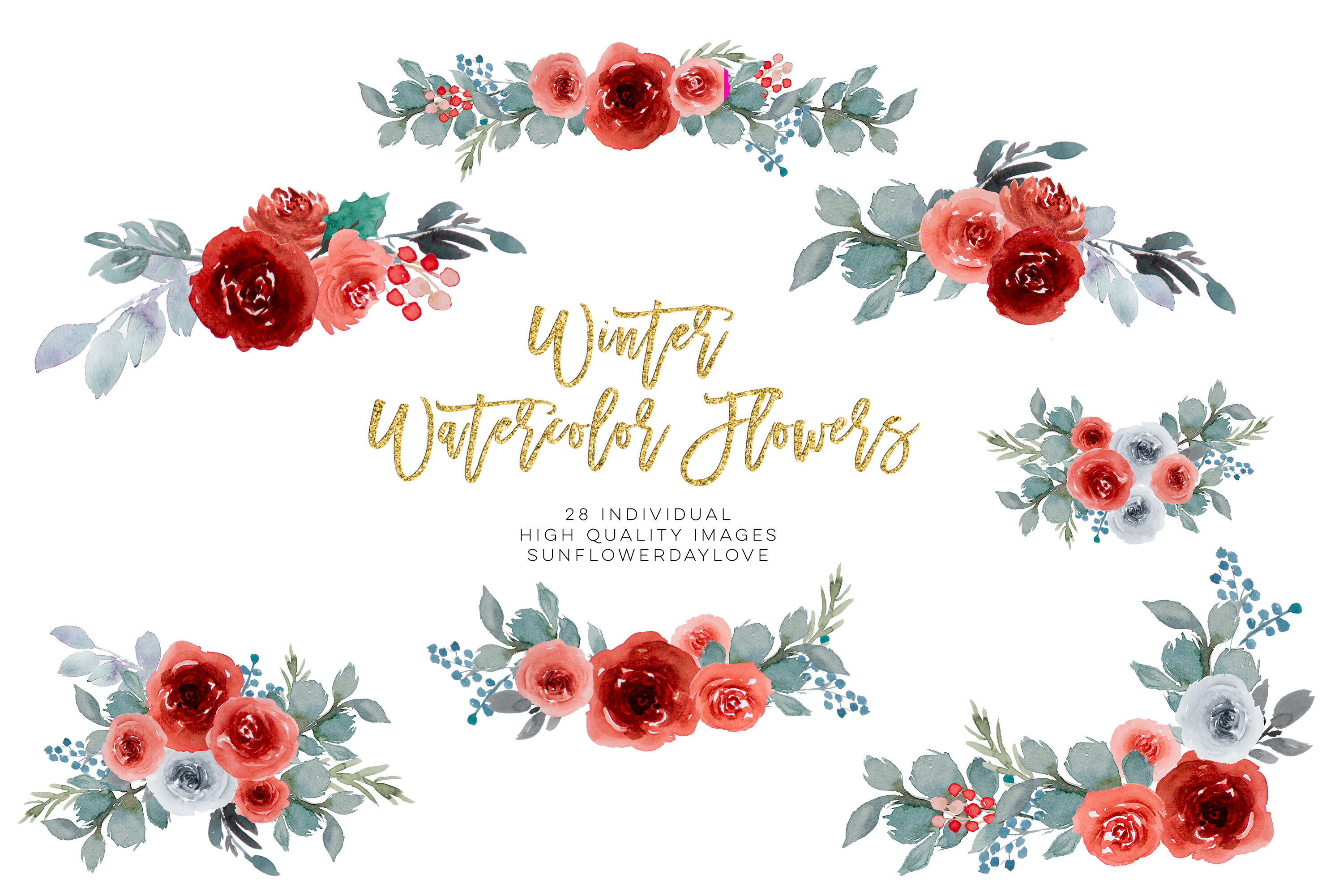 Christmas Watercolor clipart, Winter Wine Colors Bouquet.