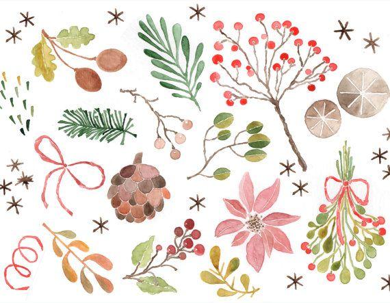 Watercolor Clipart, Christmas Watercolor Clip Art, Winter.