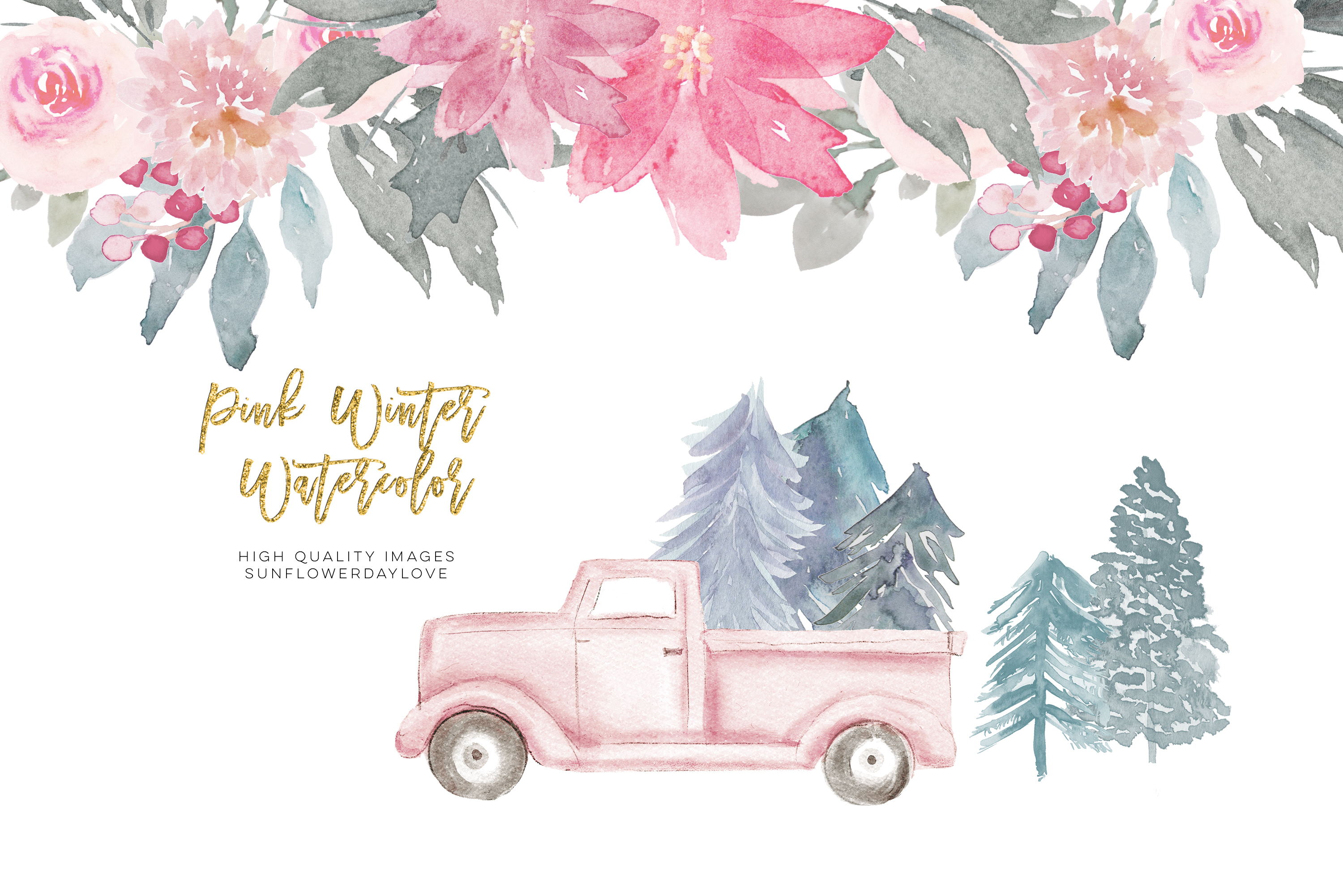Pink Christmas clipart, floral Pink watercolor clipart.