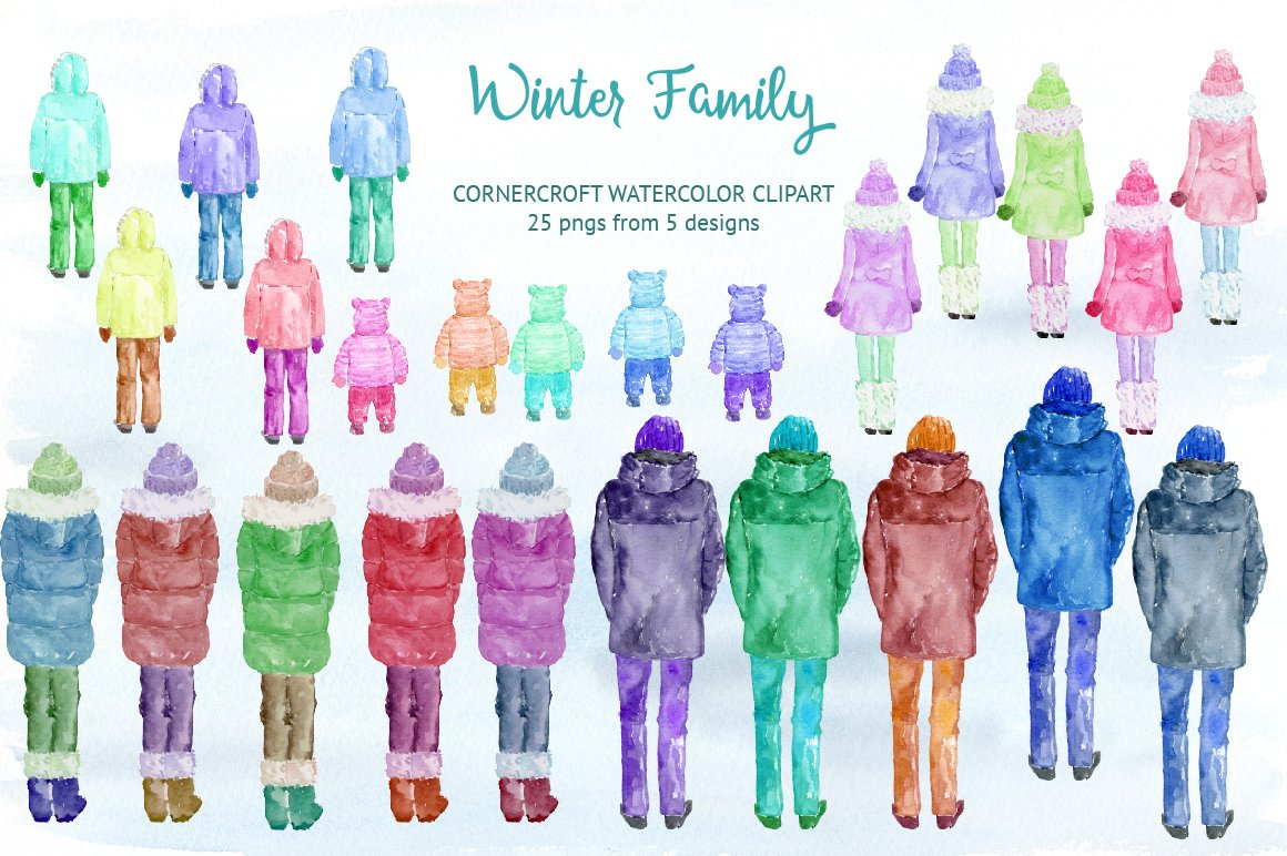 Watercolor winter family clipart for instant download.