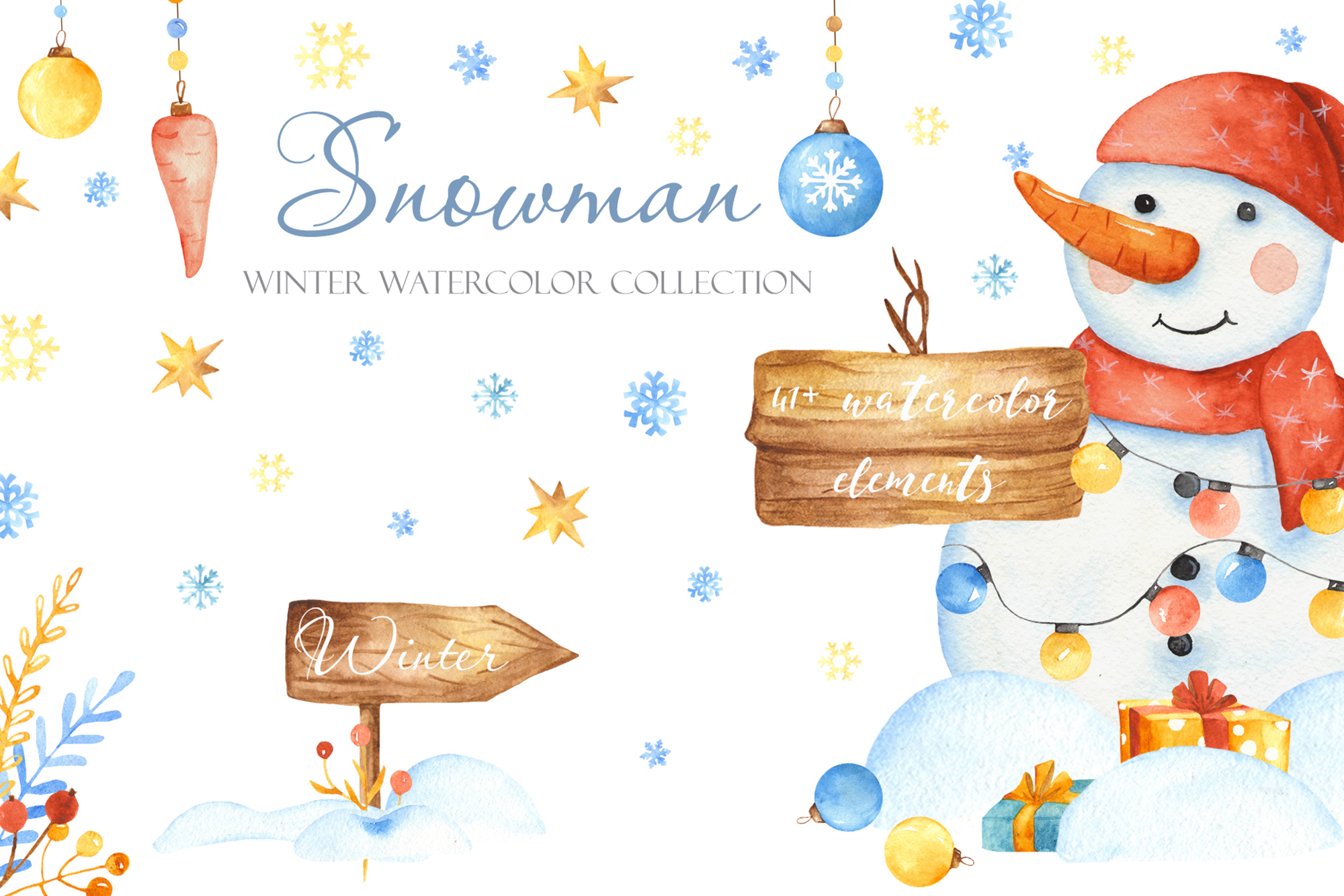 Christmas cute snowman watercolor clipart Winter collection.