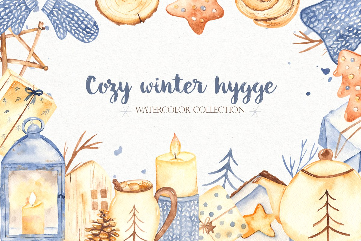 Cozy winter hygge watercolor clipart.