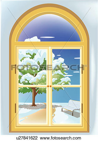 Clip Art of window, snowscape, way, tree, snow, indoor, winter.