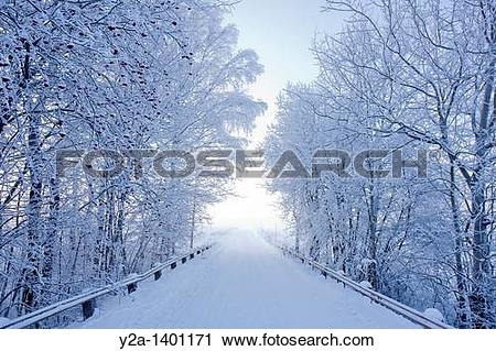 Stock Photography of Karlslund winter way, Sweden y2a.