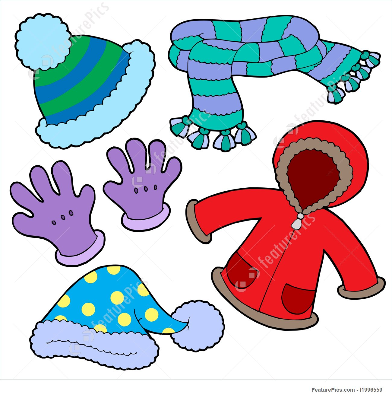 Clothes We Wear In Winter Season Clipart.
