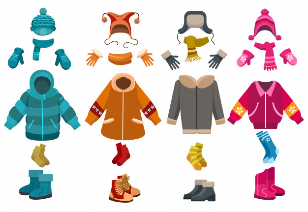 Winter clothes and cold weather accessories set Vector.