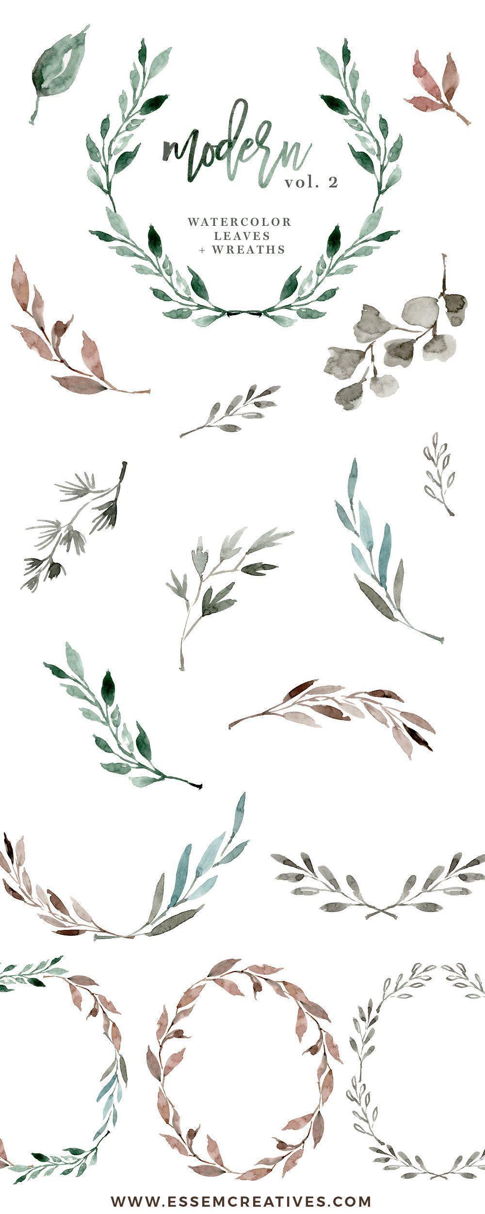 Watercolour Wreath Clipart, Watercolor Leaves Clipart.