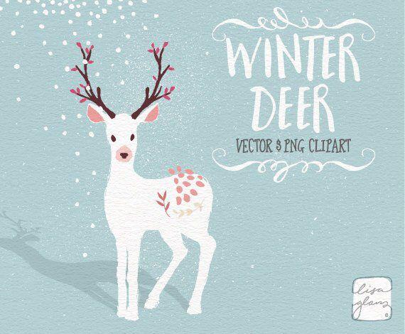 Winter clipart: Whimsical deer clipart / white Christmas.