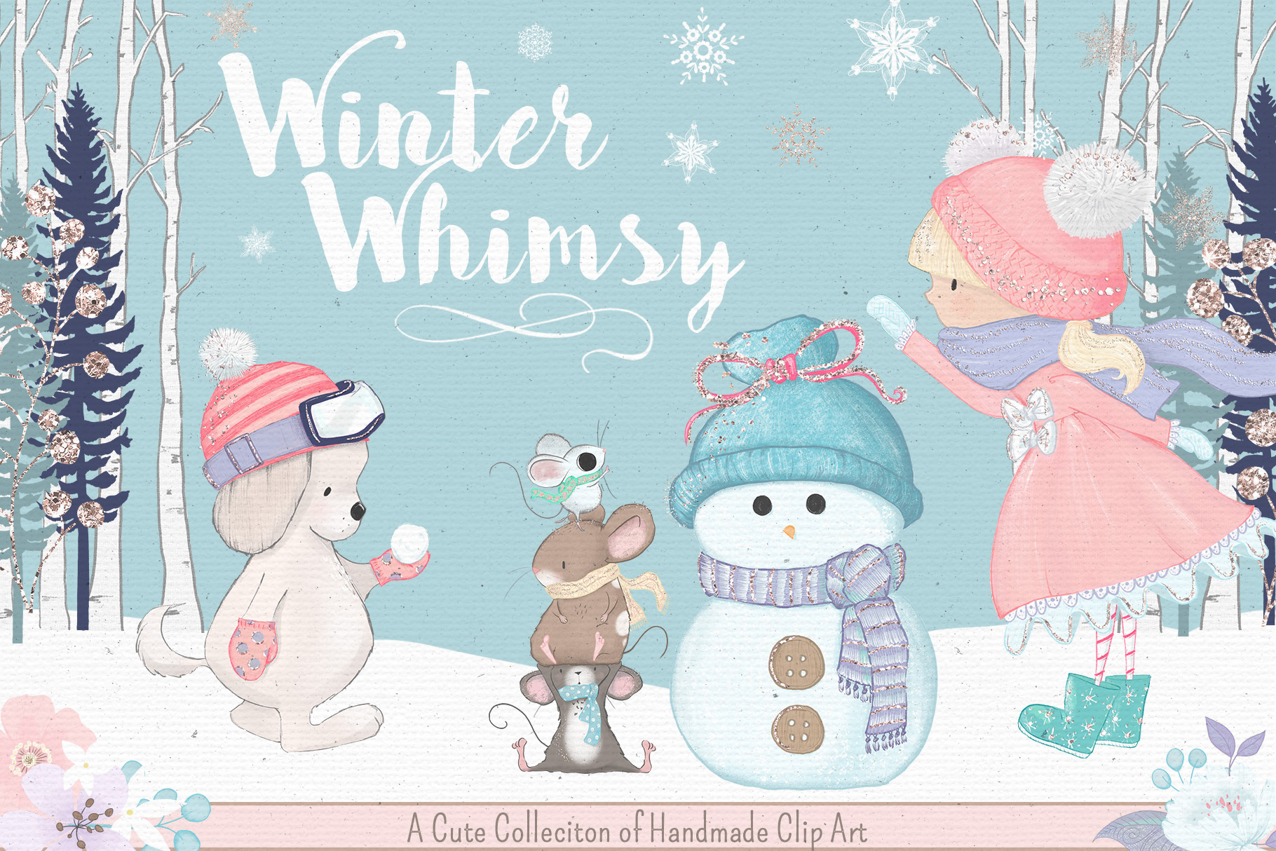 Winter Whimsy Clipart Collection.