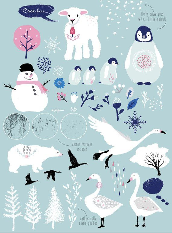 Winter Wonderland: PNG clipart / whimsical clip art.
