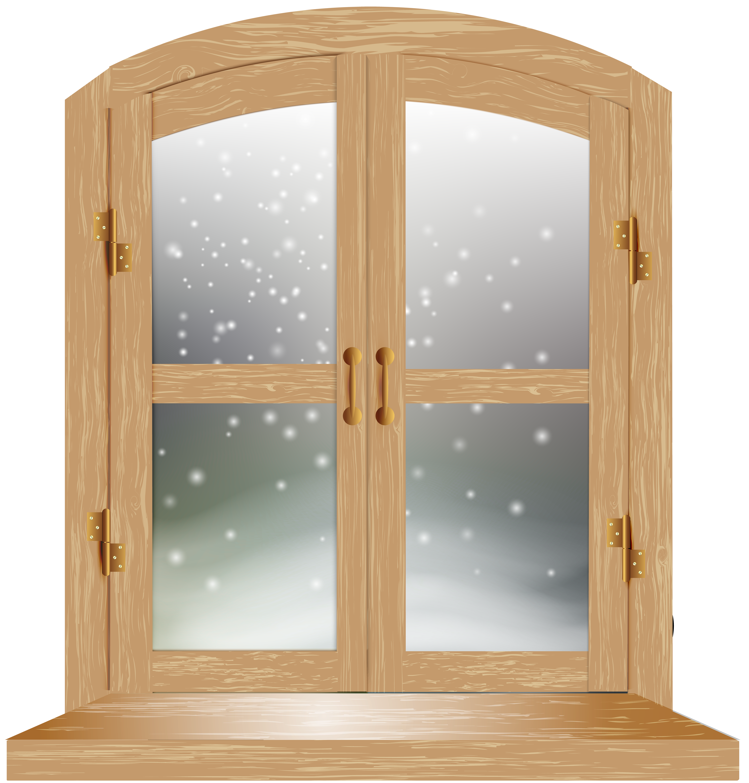 Winter Window PNG Clip Art Image.