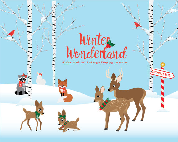 Winter Wonderland clipart Woodland animals winter scene.