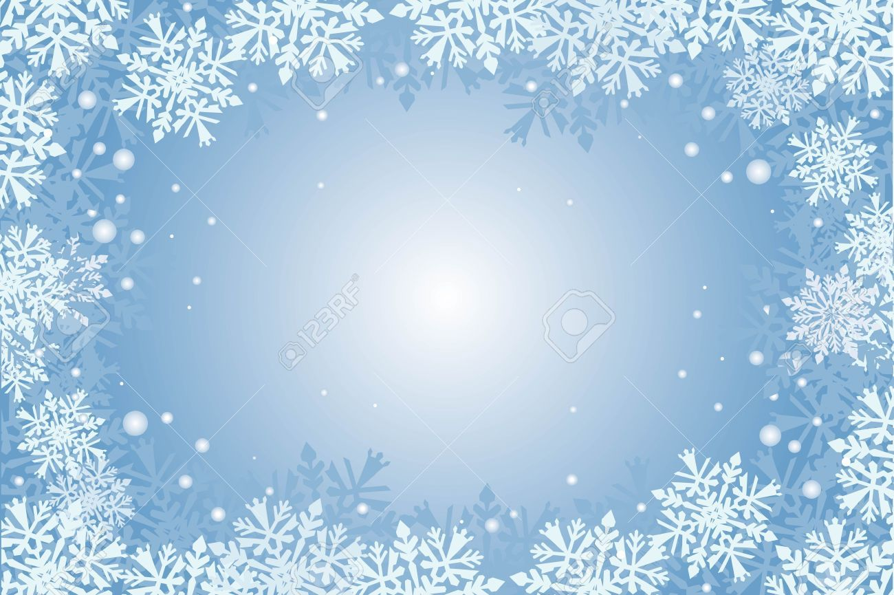 Blue Winter Wonderland Christmas Border Clipart.