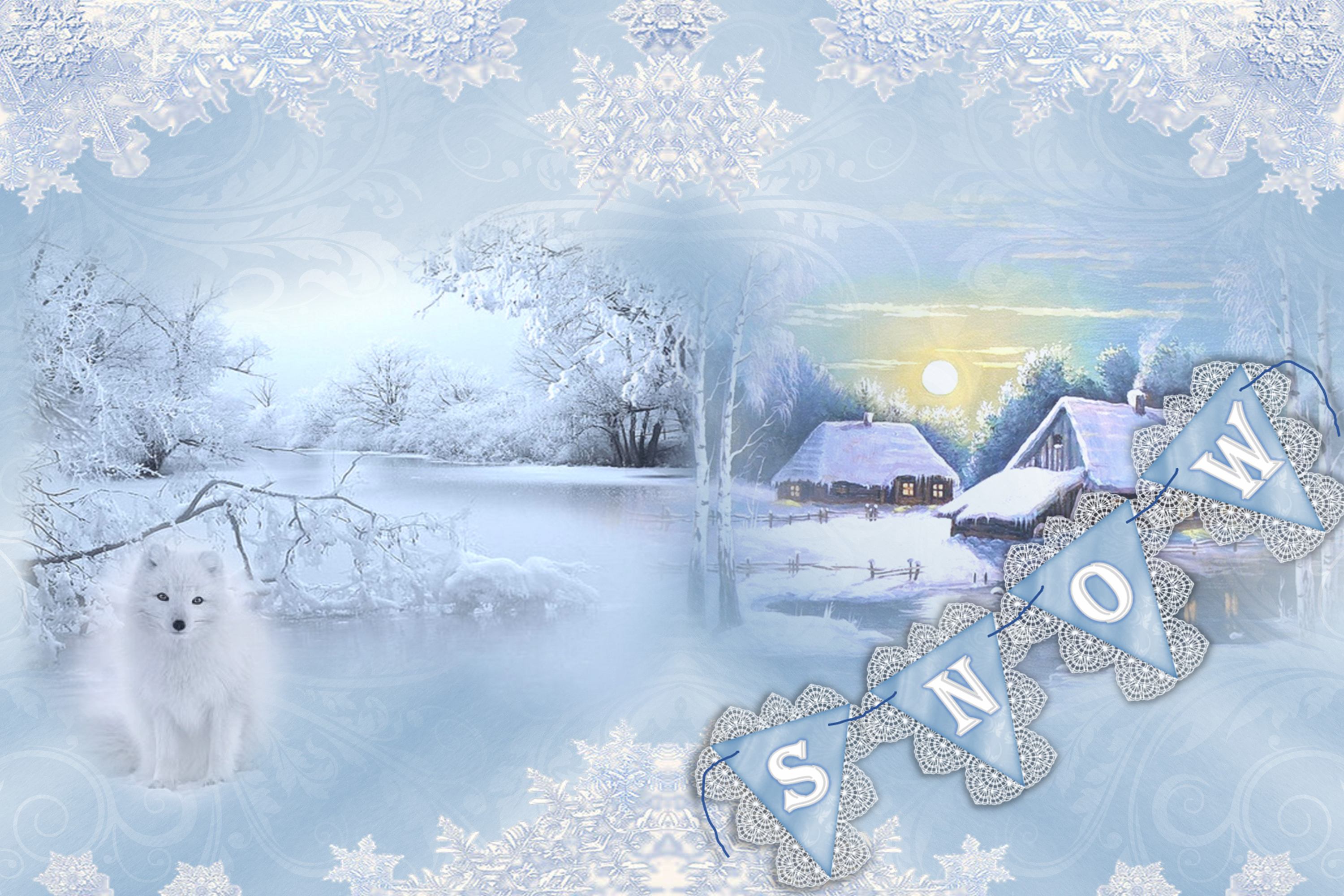 Winter Wonderland Backgrounds free clipart and ephemera. CU.