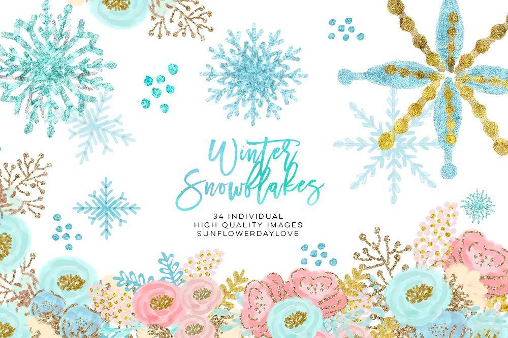 winter wonderland clip art, glitter snowflakes clip art.