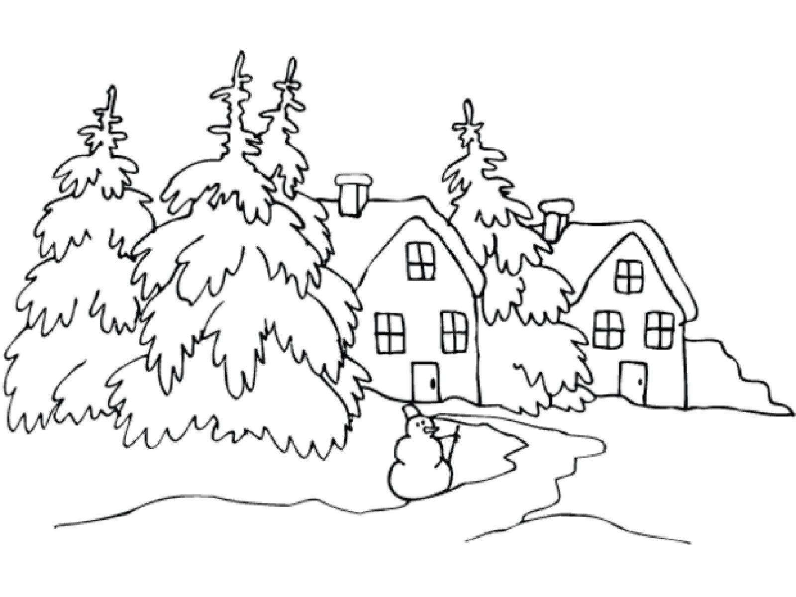 Winter landscape clipart black and white.
