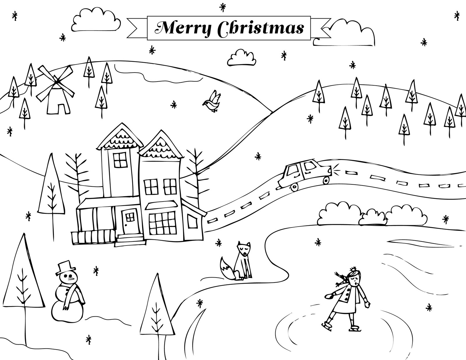 Winter Scenes Clipart Black And White.
