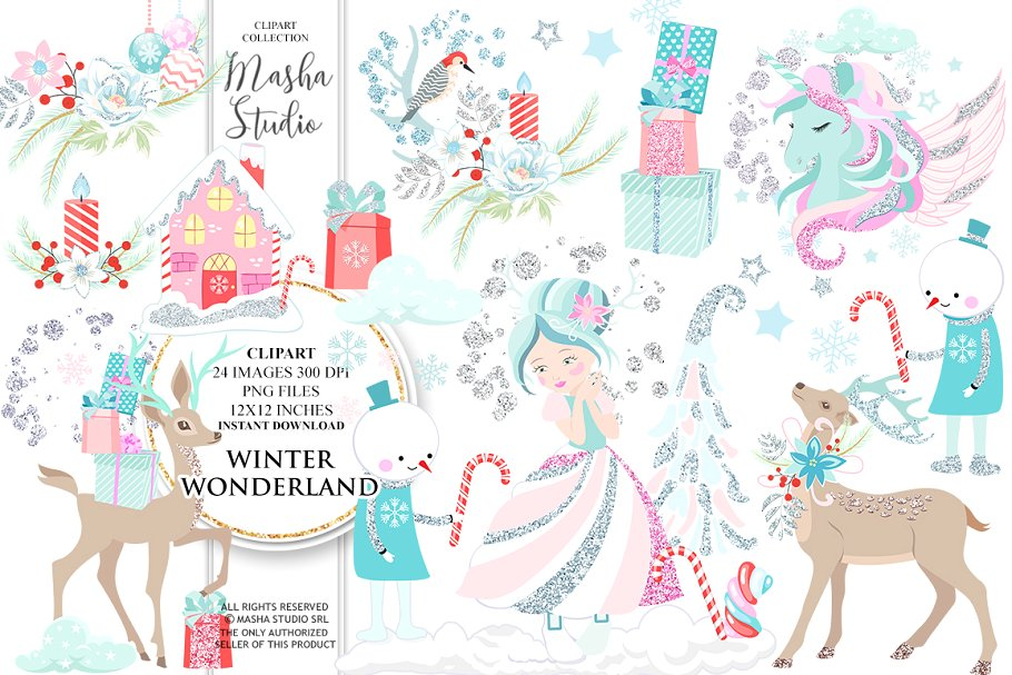 WINTER WONDERLAND clipart ~ Illustrations ~ Creative Market.