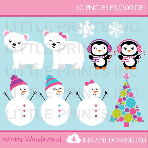 Snowman Penguin Polar Bear Clipart Christmas Winter.